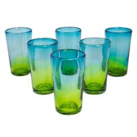 Handmade Set of 6 Blown Glass Highball Glasses, Aurora Tapatia (Mexico)