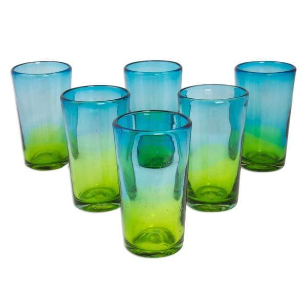 Handmade Set of 6 Blown Glass Highball Glasses, Aurora Tapatia (Mexico)