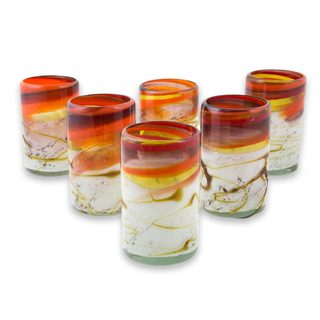 Handmade Set of 6 Blown Glass Tumblers, Caramel Fantasy (Mexico)