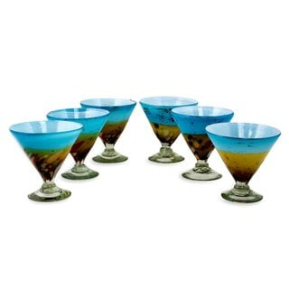 Set of 6 Blown Glass Martini Glasses, Amber Riviera (Mexico)