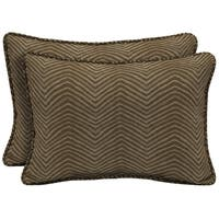 Bombay Outdoors Brown Oversize Lumbar Pillow with Welt (Set of 2)