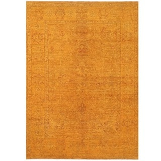 Herat Oriental Afghan Hand-knotted Over-dyed Oushak Wool Rug (4'10 x 6'9)