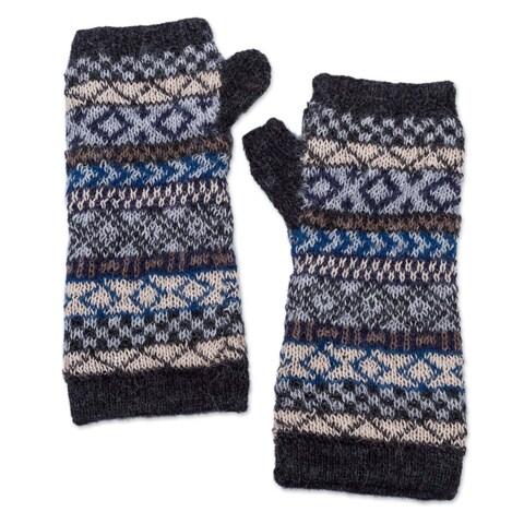 Handmade Alpaca Fingerless Gloves, 'Geometric Color' (Peru)