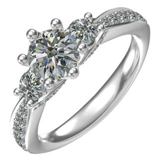 Sterling-silver 1-ct Round Center 32 0.68-tcw 3-stone Classic Engagement Ring