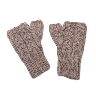 Handmade Alpaca Gloves, Tan Attraction (Peru)