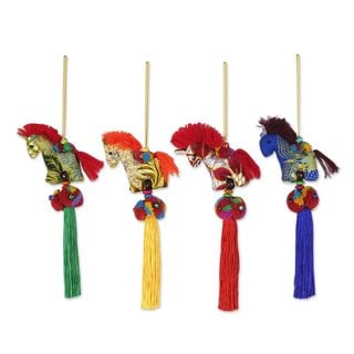 Set of 4 Cotton Ornaments, Happy Thai Horses (Thailand)