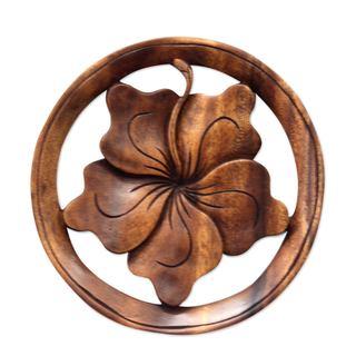 Handmade Wood Relief Panel, 'Balinese Hibiscus Flower' (Indonesia) - Brown