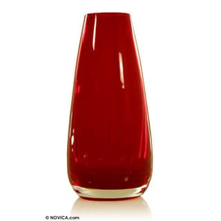 Handblown Art Glass Vase, Ember (Brazil)