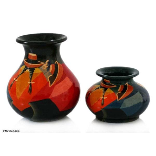 Handmade Pair of Ceramic Vases Rest Time (Peru)