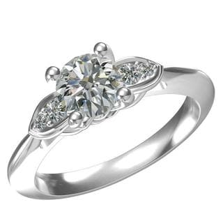 Sterling-silver 1-ct Round Center 4 0.13-tcw Side Cubic Zirconia Classic Engagement Ring