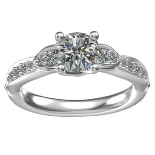 Sterling-silver 1-ct Round Center 14 0.28-tcw Side Cubic Zirconia Classic Engagement Ring