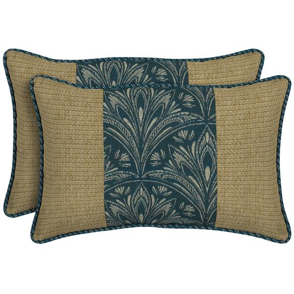 Bombay Outdoors Blue Pieced Face Lumbar Pillow (Set of 2)