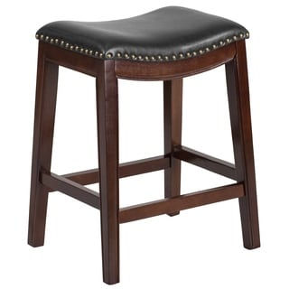 26'' High Backless Wood Counter Height Stool with Bonded LeatherSoft Seat