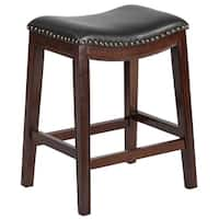 26'' High Backless Wood Counter Height Stool with Bonded Leather Seat