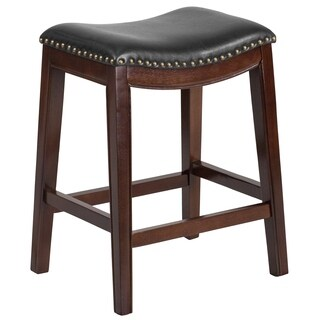 26-inch Backless Wood Counter Height Stool with Leather Seat
