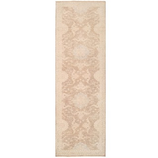 Herat Oriental Afghan Hand-knotted Vegetable Dye Oushak Wool Runner (4' x 12'7)