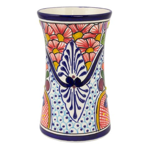 Handmade Ceramic Vase Radiant Flowers (Mexico)