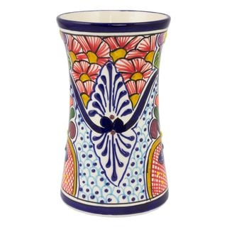 Ceramic Vase, 'Radiant Flowers' (Mexico)