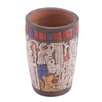 Handmade Ceramic Vase, Maya King of Tikal (Mexico)