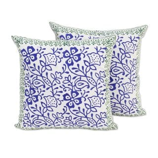 Pair of Cotton Cushion Covers, Indigo Vines (India)