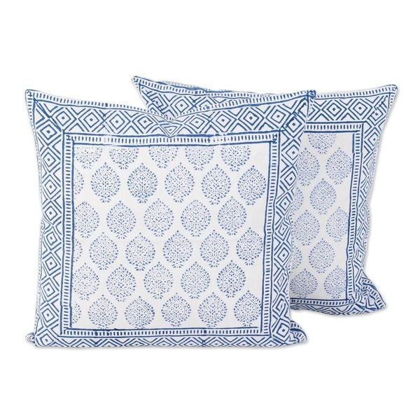 Pair of Cotton Cushion Covers, Blue Foliage (India)
