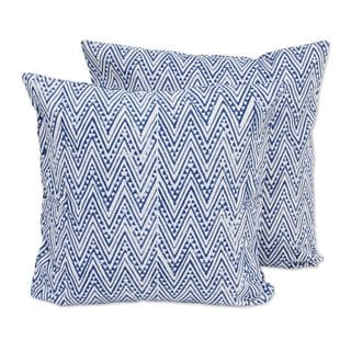 Pair of Cotton Cushion Covers, Caribbean Blue Zigzags (India)