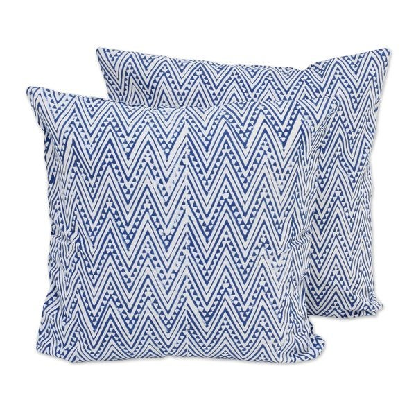 Handmade Pair of Cotton Cushion Covers, Caribbean Blue Zigzags (India)