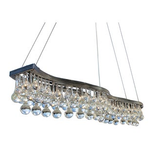 48-inch Double S Glass Drop Rectangular Chandelier, Antique Silver