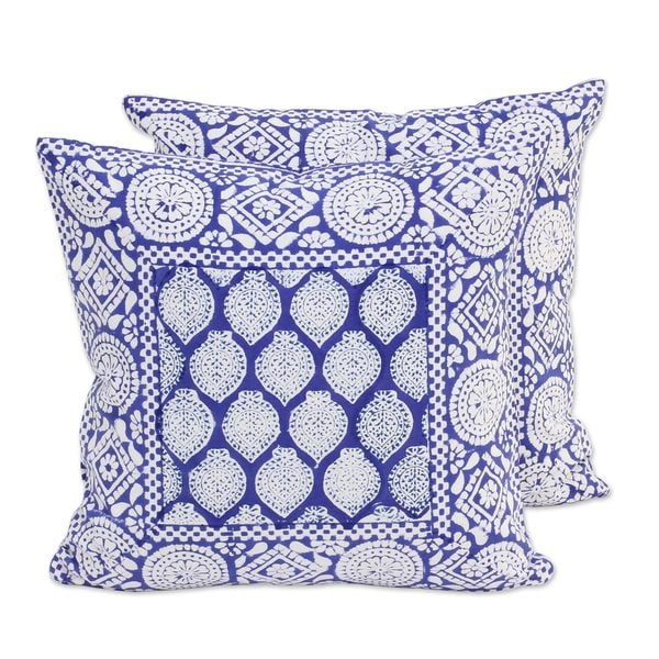 Pair of Cotton Cushion Covers, Royal Lapis (India)