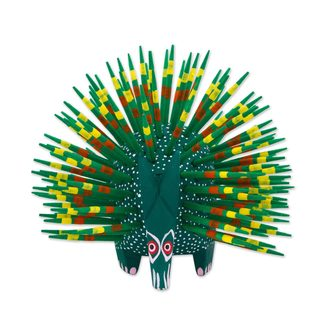 Handmade Wood Sculpture, 'Cute Porcupine In Green' (Mexico)