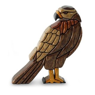 Handmade Wood Sculpture, 'Majestic Eagle' (Peru)