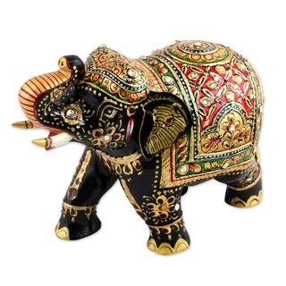 Wood Elephant Sculpture, 'Bejeweled Elephant' (India)
