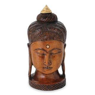 Wood Statuette, 'Buddha Inspired' (India)