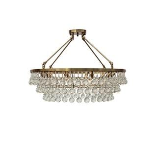 Celeste Flush Mount Glass Drop Crystal Chandelier, Brass