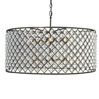 Cassiel Large Antique Brass Drum Crystal Chandelier