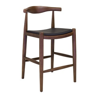 Elbow Black Leather Counterstool