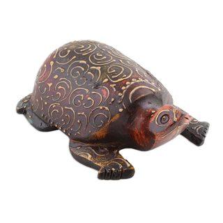 Handmade Wood Sculpture, Antique Turtle (India)