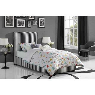DHP Preppy Black/ White Twin Upholstered Bed