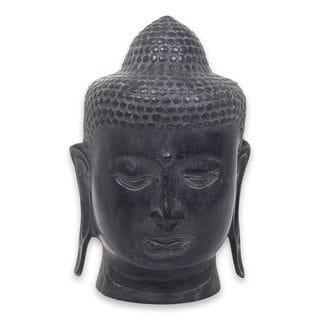 Handmade Bronze Statuette, Buddha Head Ii (Indonesia)