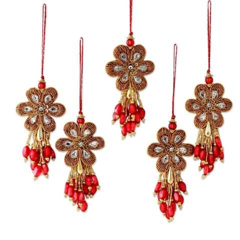 Handmade Set of 5 Beaded Ornaments, Holiday Comets (India)