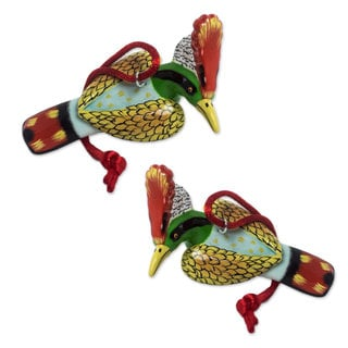 Handmade Pair of Ceramic Ornaments, Hummingbird Coquette (Guatemala)