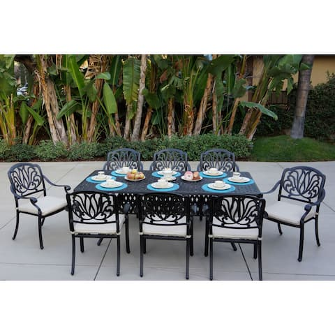 Sicily 9-Piece Dining Set with Seat Cushions,44 Inch by 84 Inch Rectangular Dining Table,Antique Bronze Finish