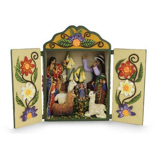 Wood and Ceramic Nativity Scene, Christmas Fiesta (Peru)