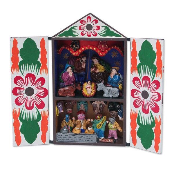 fab648065fd92 Shop Handmade Wood Retablo, 'Christmas with Musicians' (Peru) - Free  Shipping On Orders Over $45 - Overstock - 14230608