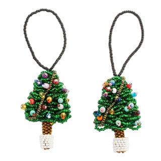 Pair of Beadwork Ornaments, 'Mini Christmas Tree' (Guatemala)