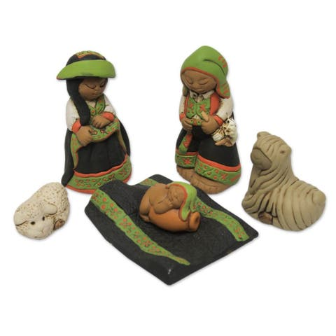 Handmade Set of 6 Ceramic Nativity Scene, 'Born in Colca' (Peru)