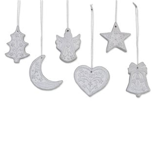 Set of 6 Ceramic Ornaments, 'Christmas Union In Silver' (India)