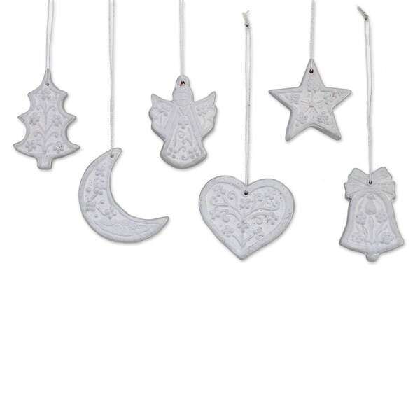 Shop Handmade Set Of 6 Ceramic Ornaments Christmas Union In Silver