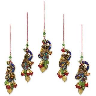 Set of 5 Beaded Ornaments, 'Mughal Peacocks' (India)