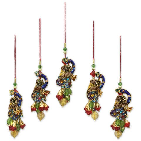 Handmade Mughal Peacocks Beaded Ornaments, Set of 5 (India)